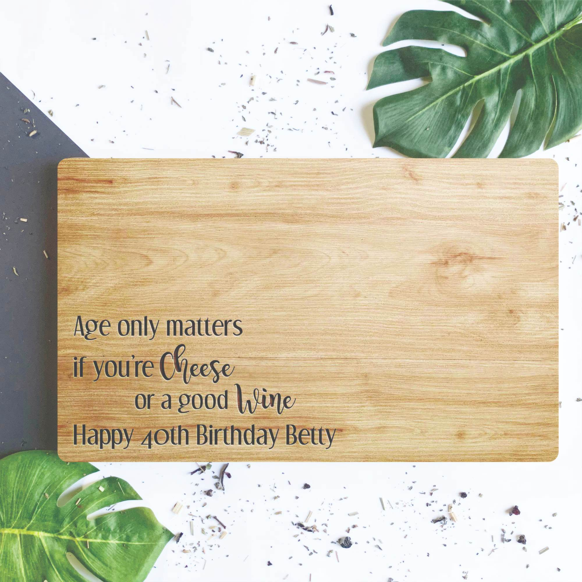 Cheese And Wine Engraved Wooden Chopping Board