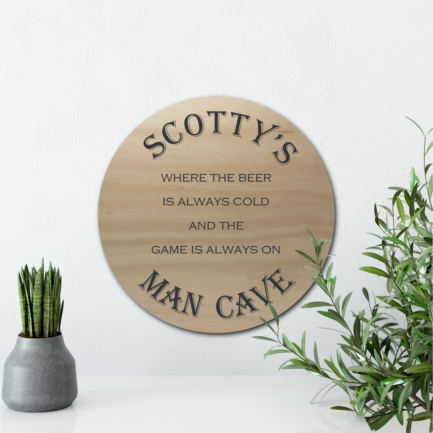 personalised man cave sign, round man cave sign