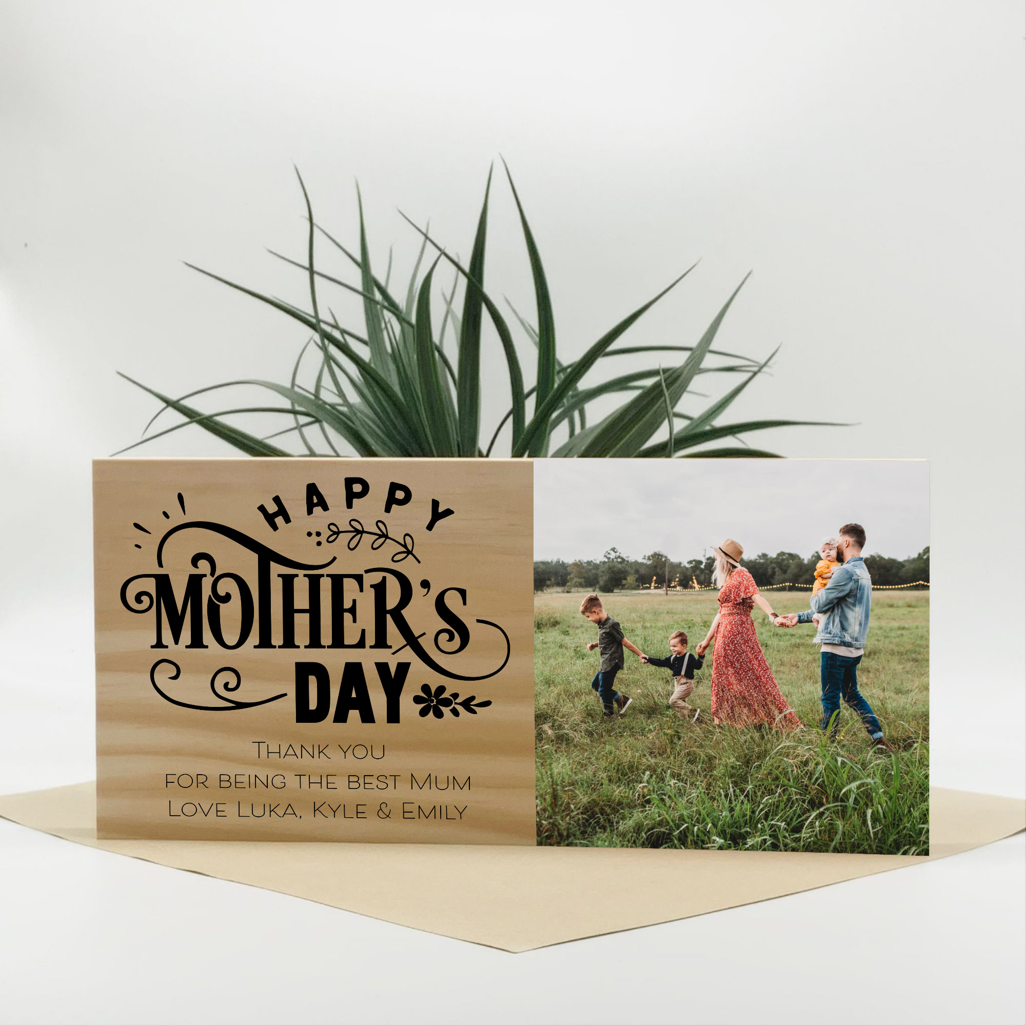 custom mothers day gift, photo block for mum