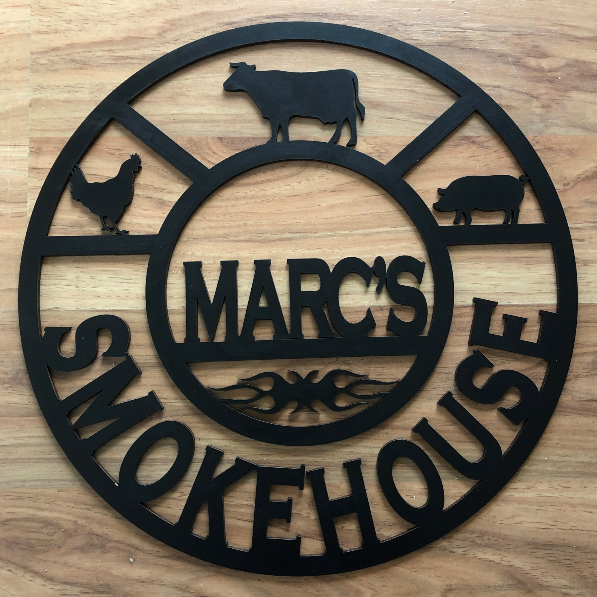 smokehouse sign, laser cut man cave sign, personalised man cave sign