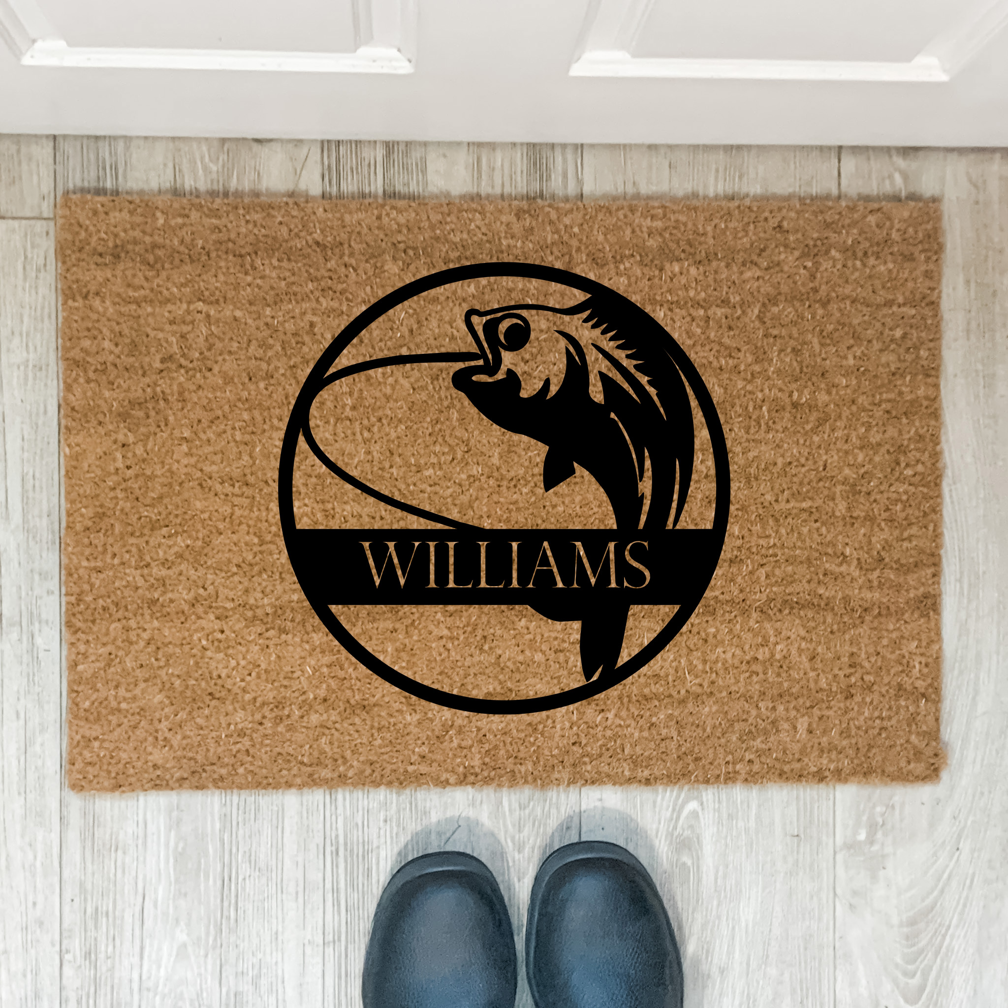 personalised door mat, fishing mat