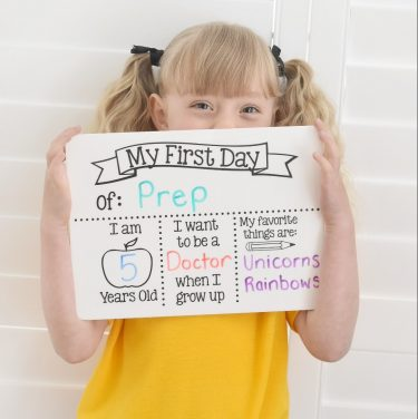 back to school board, first day of school photo prop