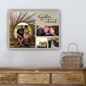 photo collage, photo printed on wood