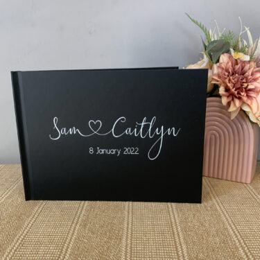 personalised wedding guest book, script guest book