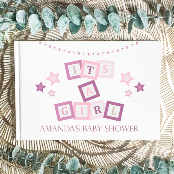 baby shower guest book, personalised guest book