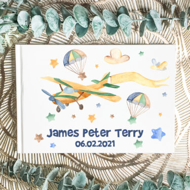 christening guest book, personalised aby book