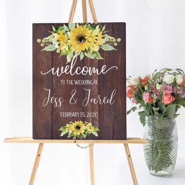 wedding welcome sign, rustic wedding sign