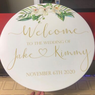 round welcome sign, round wedding sign