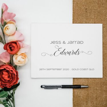 wedding guest book, personalised guest book