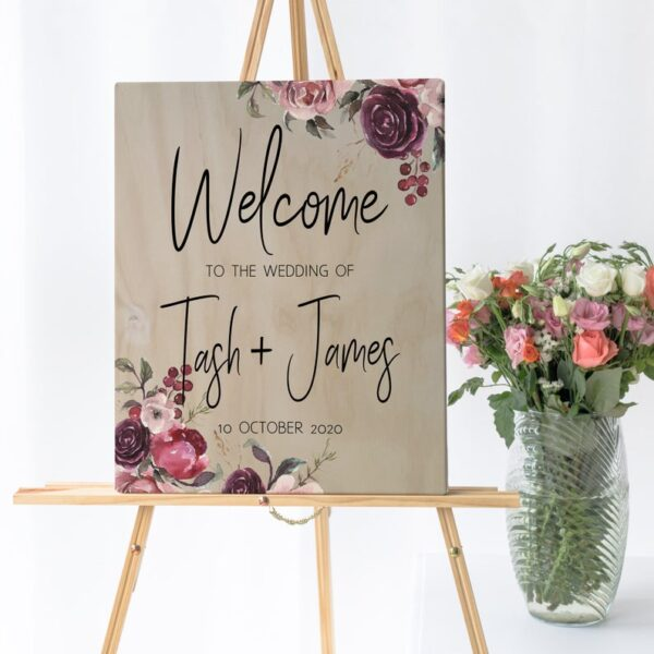 floral welcome sign, wedding welcome sign