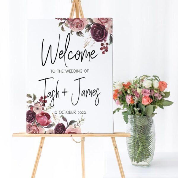 wedding welcome sign, floral welcome sign