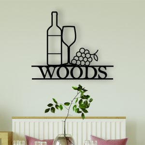 personalised wine sign, family name sign