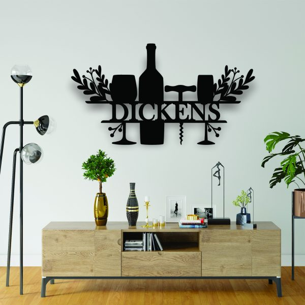 laser cut name sign, wine sign