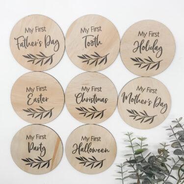 baby milestones, wooden milestone sets