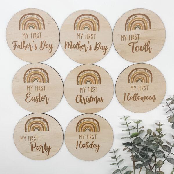 milestone set, wooden milestone discs