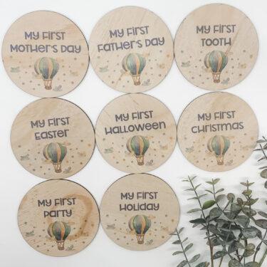 baby milestones, wooden milestone discs