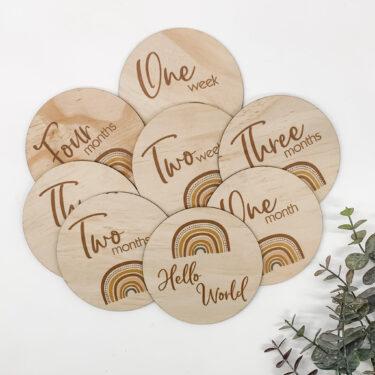 wood milestone disc, milestone set