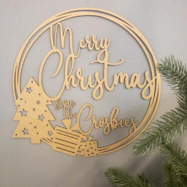 peraonalise christmas wreath, laser cut christmas