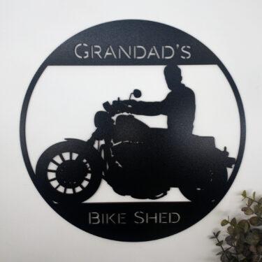 Personalised Bike sign. laser cur sign, custom sign for men